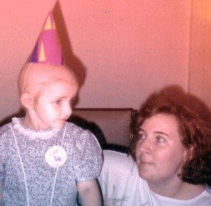 My daughter and I on her 4th Birthday just 2.5 months into chemotherapy